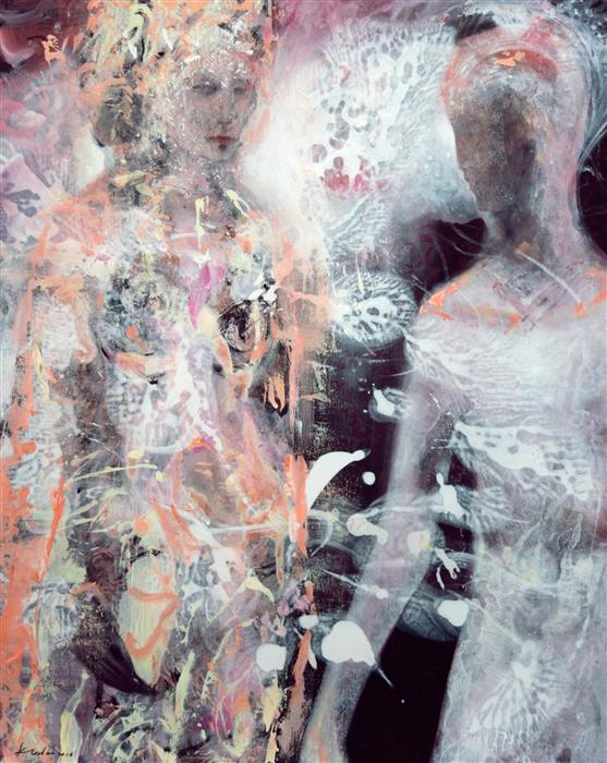 Original art for sale at UGallery.com | Cosmic Light Night Wedding Diaphane by KLOSKA OVIDIU | $1,800 | Acrylic painting | 40' h x 32' w | http://www.ugallery.com/acrylic-painting-cosmic-light-night-wedding-diaphane