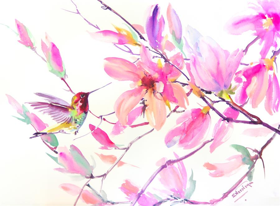 Discover Original Art by Suren Nersisyan | Little Hummingbird and Pink Magnolias watercolor painting | Art for Sale Online at UGallery
