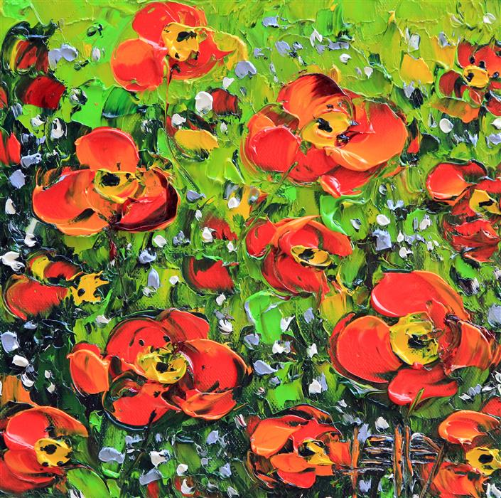 Discover Original Art by Lisa Elley | Never Ending Poppies oil painting | Art for Sale Online at UGallery