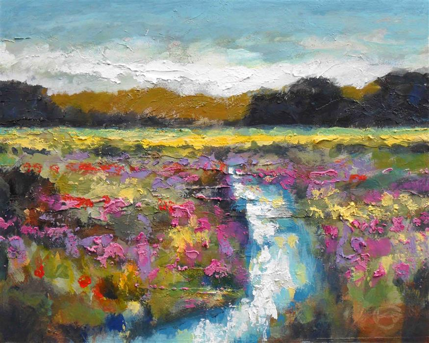 Original art for sale at UGallery.com | Creek in the Field by KIP DECKER | $625 | Acrylic painting | 16' h x 20' w | http://www.ugallery.com/acrylic-painting-creek-in-the-field
