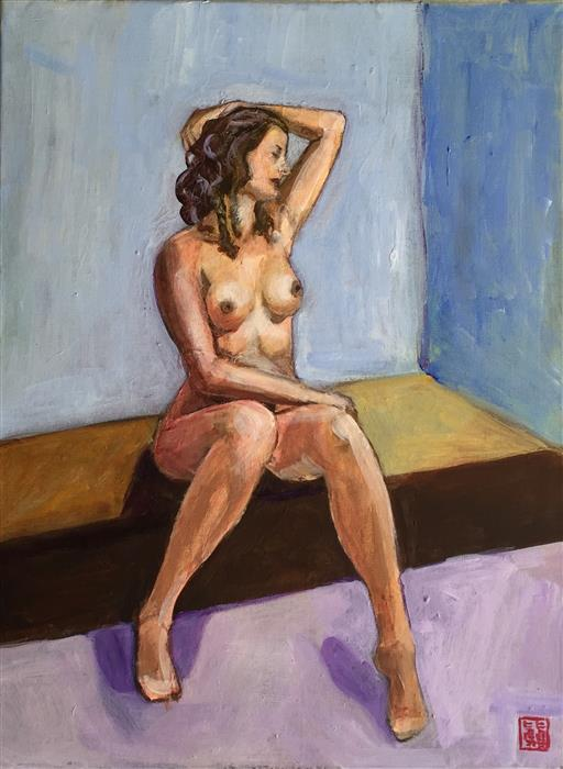 Original art for sale at UGallery.com | Seated Nude Study by LAURA (YI ZHEN) CHEN | $400 | Acrylic painting | 16' h x 12' w | http://www.ugallery.com/acrylic-painting-seated-nude-study