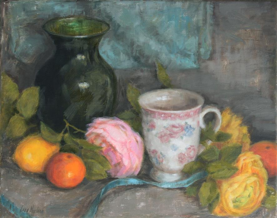 Original art for sale at UGallery.com | Ranunculus and Citrus by LISA NIELSEN | $500 | Oil painting | 11' h x 14' w | http://www.ugallery.com/oil-painting-ranunculus-and-citrus