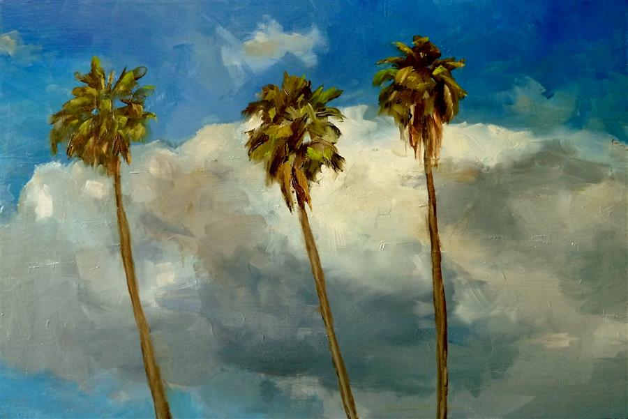 Discover Original Art by Gary Bruton | Hollywood Sky oil painting | Art for Sale Online at UGallery