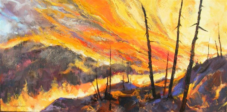 Original art for sale at UGallery.com | The Fires of Summer by JEAN W. THOMAS | $925 | Oil painting | 18' h x 36' w | http://www.ugallery.com/oil-painting-the-fires-of-summer