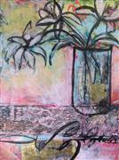 Still Life art,Flora art,Representational art,mixed media artwork,Pink Moment