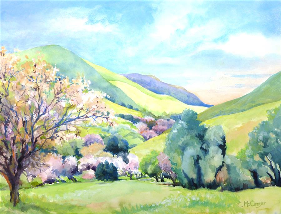 Discover Original Art by Catherine McCargar | Blossom Time in the Valley watercolor painting | Art for Sale Online at UGallery