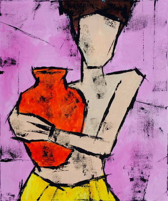 Discover Original Art by Tanya Grabkova | Girl with a Jug acrylic painting | Art for Sale Online at UGallery