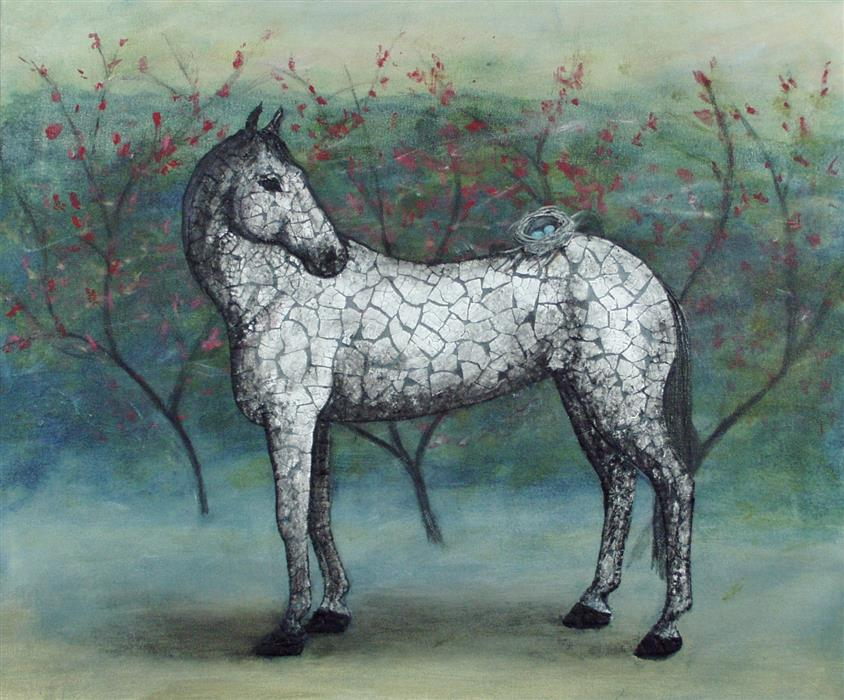Original art for sale at UGallery.com | To Ride a Horse Is to Fly without Wings by JENNIFER ROSS | $1,100 | Mixed media artwork | 20' h x 24' w | http://www.ugallery.com/mixed-media-artwork-to-ride-a-horse-is-to-fly-without-wings