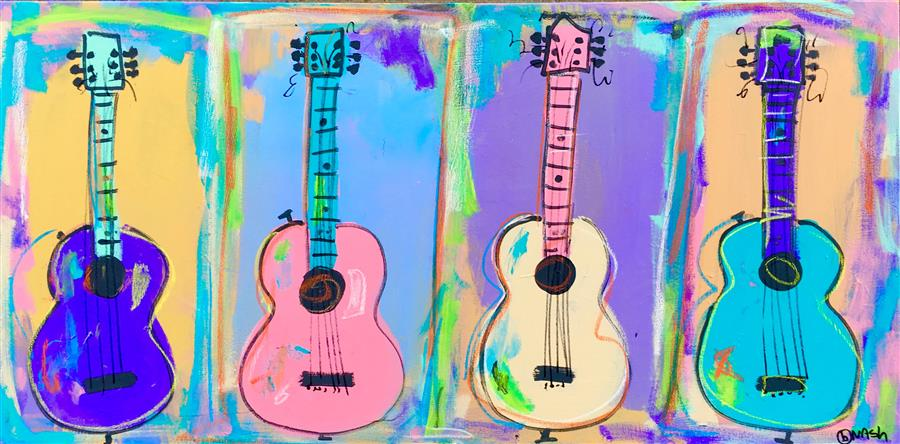 Original art for sale at UGallery.com | Four Guitars by BRIAN NASH | $1,050 | Acrylic painting | 16' h x 48' w | http://www.ugallery.com/acrylic-painting-four-guitars