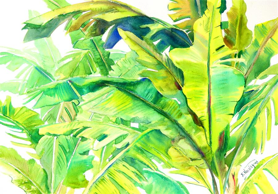 Discover Original Art by Suren Nersisyan | Banana Plants (Horizontal Composition) watercolor painting | Art for Sale Online at UGallery