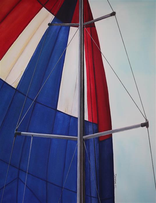 Discover Original Art by JJ Galloway | Red, White & Blue Spinnaker watercolor painting | Art for Sale Online at UGallery