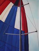 Sports art,Realism art,Representational art,watercolor painting,Red, White & Blue Spinnaker