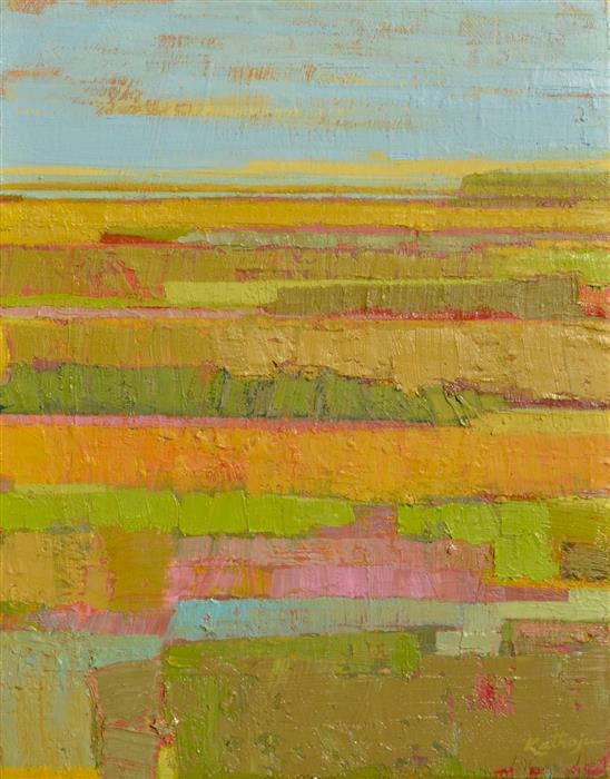 Original art for sale at UGallery.com | Green Fields by SRINIVAS KATHOJU | $325 | Oil painting | 14' h x 11' w | http://www.ugallery.com/oil-painting-green-fields