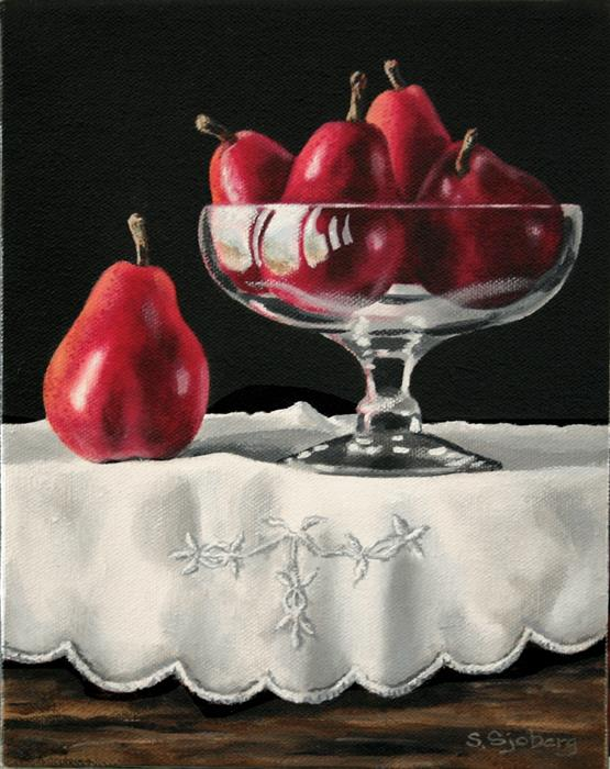 Original art for sale at UGallery.com | Red Pears in Glass Bowl by SUSAN SJOBERG | $450 | Acrylic painting | 10' h x 8' w | http://www.ugallery.com/acrylic-painting-red-pears-in-glass-bowl