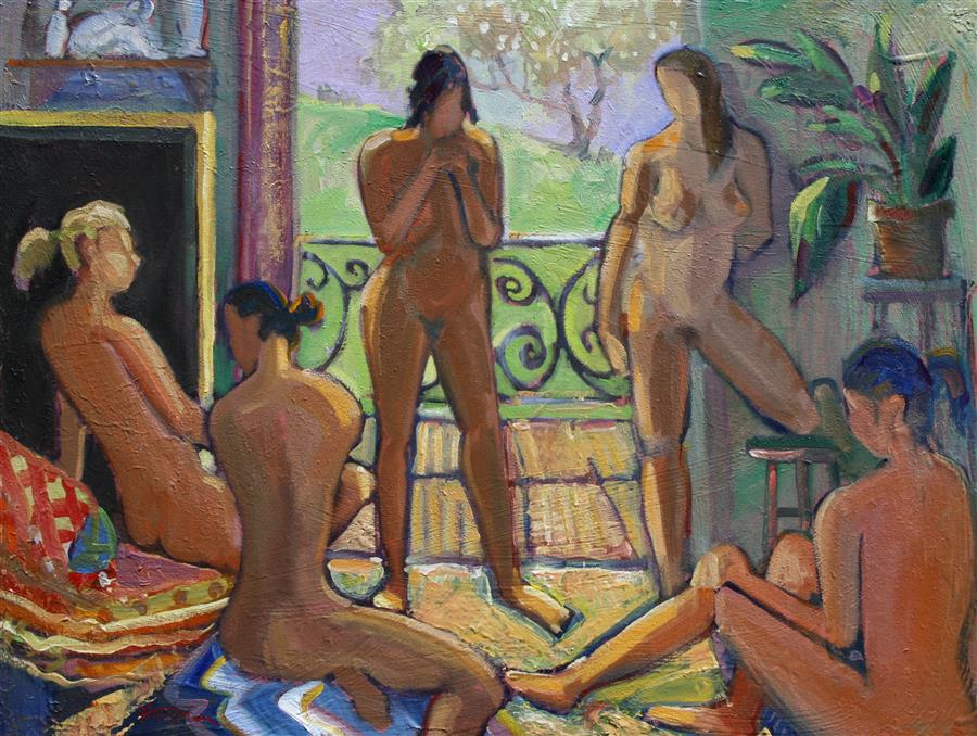 Original art for sale at UGallery.com | Meeting of the Muses by JAMES HARTMAN | $1,975 | Oil painting | 30' h x 40' w | http://www.ugallery.com/oil-painting-meeting-of-the-muses