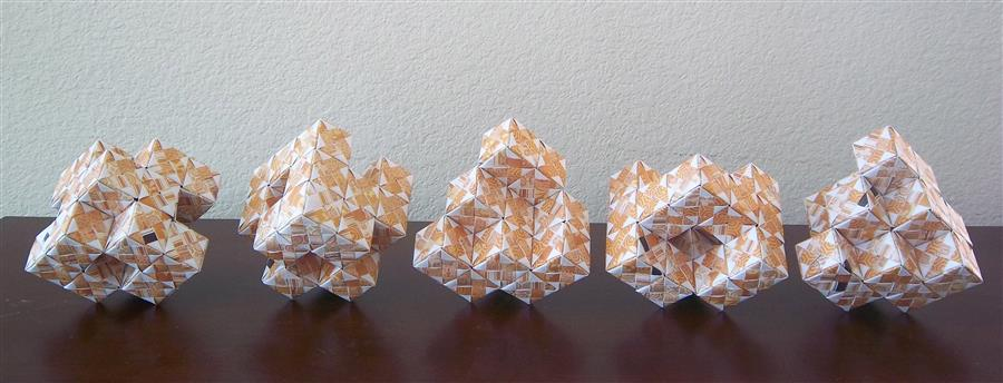 Original art for sale at UGallery.com | Cubic Grid in Origami: 5 Different Works by VANCE HOUSTON | $550 | Sculpture | 4.5' h x 22.5' w | http://www.ugallery.com/sculpture-cubic-grid-in-origami-5-different-works