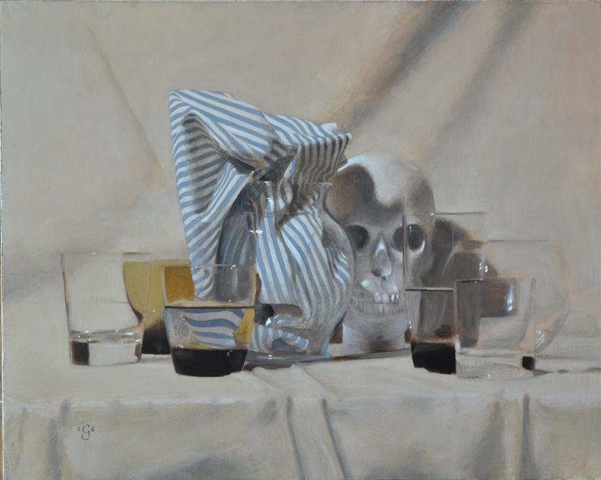 Original art for sale at UGallery.com | Vanitas with Stripes by CHRISTOPHER GARVEY | $975 | Oil painting | 16' h x 20' w | http://www.ugallery.com/oil-painting-vanitas-with-stripes
