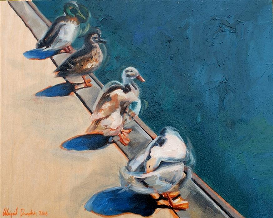 Original art for sale at UGallery.com | Ducks in a Row by ABIGAIL DRAPKIN | $450 | Oil painting | 8' h x 10' w | http://www.ugallery.com/oil-painting-ducks-in-a-row