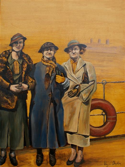 Original art for sale at UGallery.com | The Three Travelers by ABIGAIL DRAPKIN | $800 | Oil painting | 16' h x 12' w | http://www.ugallery.com/oil-painting-the-three-travelers