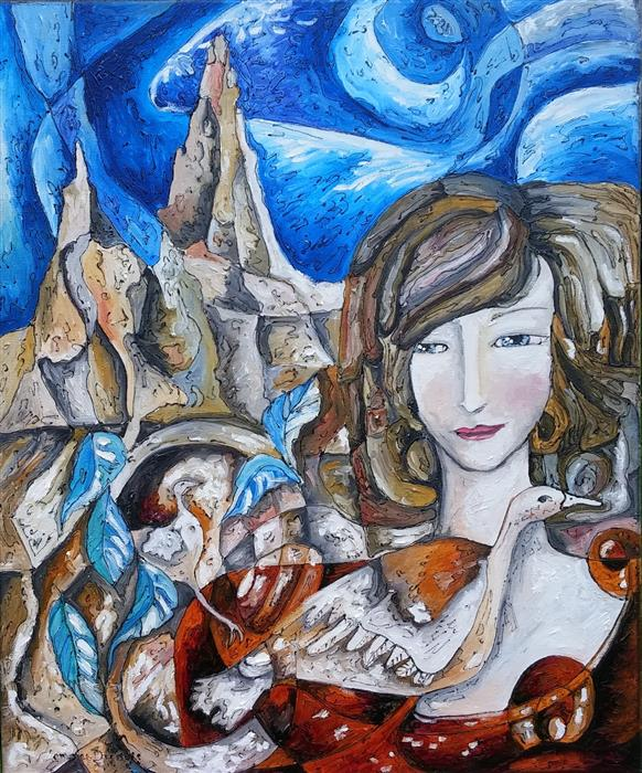 Discover Original Art by Clemence Dubois | Lady from the Mountain oil painting | Art for Sale Online at UGallery