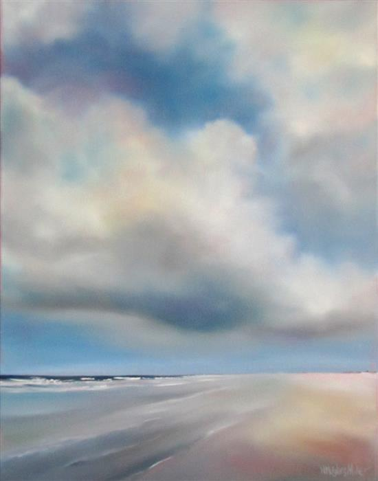 Original art for sale at UGallery.com | Morning Beach Cloud by NANCY HUGHES MILLER | $675 | Oil painting | 18' h x 14' w | http://www.ugallery.com/oil-painting-morning-beach-cloud