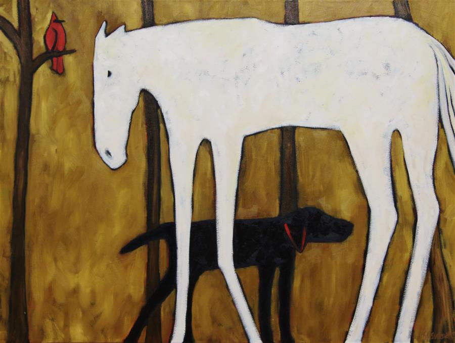 Original art for sale at UGallery.com   Redbird by JAIME ELLSWORTH   $1,975   Oil painting   30' h x 40' w   http://www.ugallery.com/oil-painting-redbird