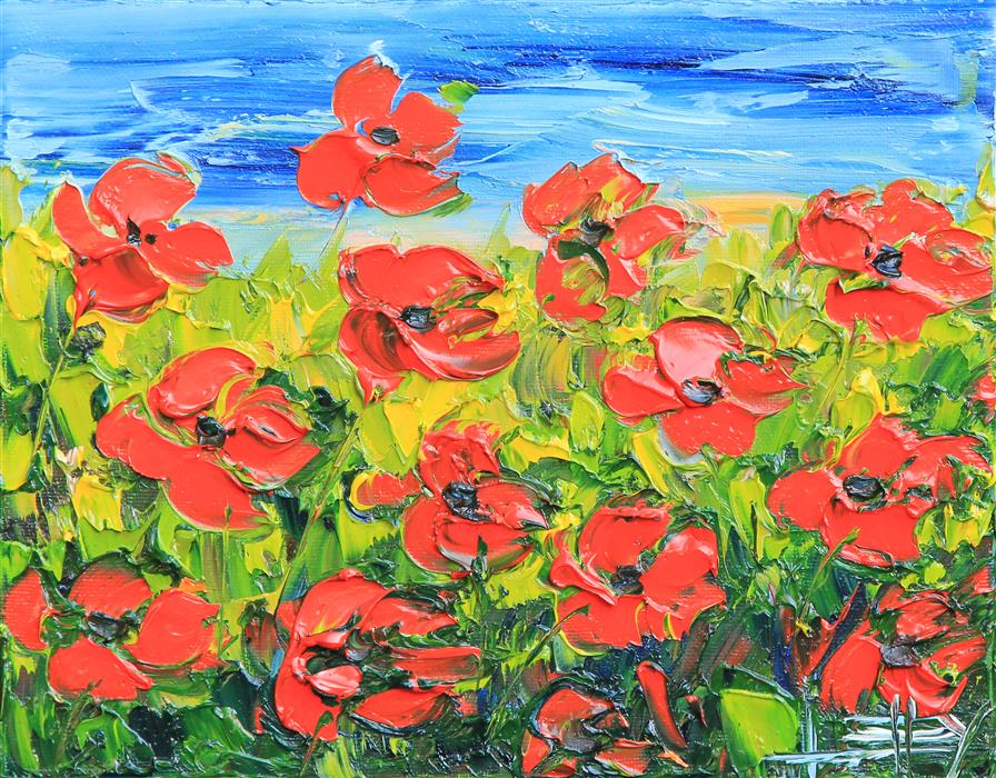 Discover Original Art by Lisa Elley | Evening Poppies oil painting | Art for Sale Online at UGallery