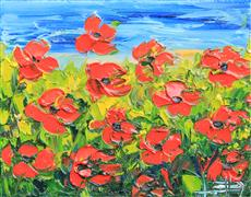 Flora art,Representational art,oil painting,Evening Poppies