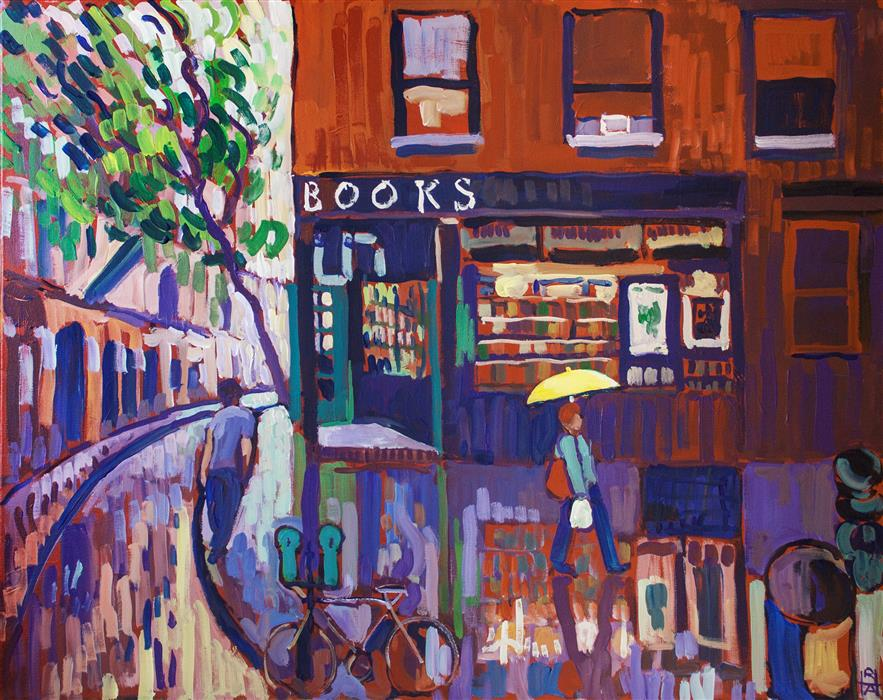 Original art for sale at UGallery.com | Bookstore by ROBERT HOFHERR | $1,050 | Acrylic painting | 24' h x 30' w | http://www.ugallery.com/acrylic-painting-bookstore