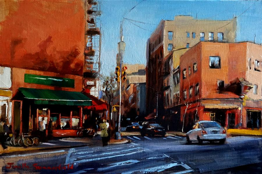 Discover Original Art by Jonelle Summerfield   Afternoon in Greenwich Village oil painting   Art for Sale Online at UGallery
