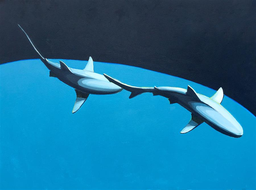 Original art for sale at UGallery.com | Shark Pair by DAVID SHOWALTER | $1,775 | Acrylic painting | 30' h x 40' w | http://www.ugallery.com/acrylic-painting-shark-pair