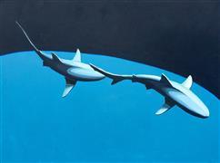 Animals art,Seascape art,Representational art,Modern  art,acrylic painting,Shark Pair