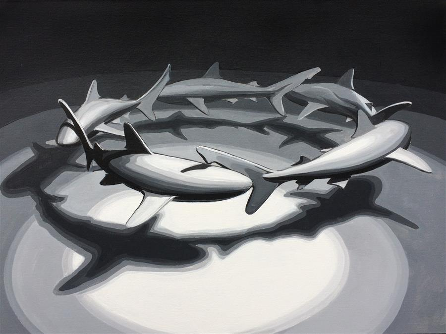 Original art for sale at UGallery.com | Shark Circle 2 by DAVID SHOWALTER | $1,775 | Acrylic painting | 30' h x 40' w | http://www.ugallery.com/acrylic-painting-shark-circle-2