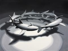Animals art,Seascape art,Representational art,Modern  art,acrylic painting,Shark Circle 2