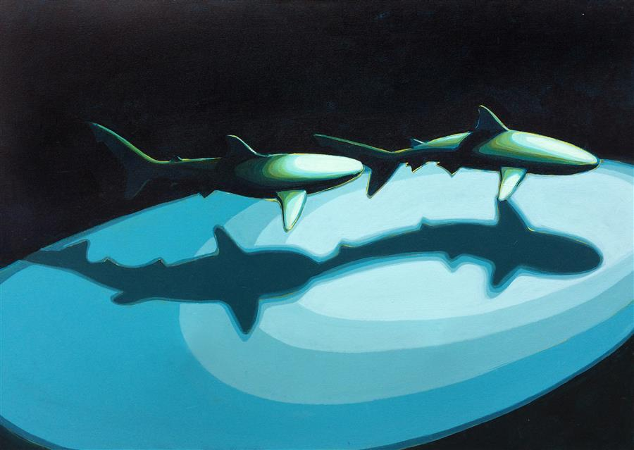Original art for sale at UGallery.com | Shark Pair 2 by DAVID SHOWALTER | $1,775 | Acrylic painting | 30' h x 40' w | http://www.ugallery.com/acrylic-painting-shark-pair-2