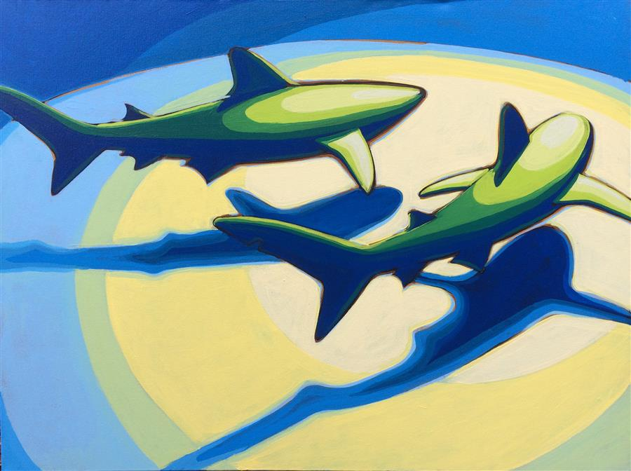 Original art for sale at UGallery.com | Shark Pair 3 by DAVID SHOWALTER | $1,775 | Acrylic painting | 30' h x 40' w | http://www.ugallery.com/acrylic-painting-shark-pair-3
