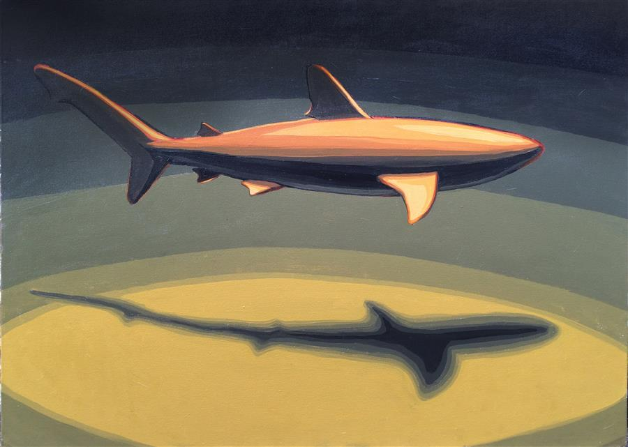 Original art for sale at UGallery.com | Single Shark by DAVID SHOWALTER | $1,775 | Acrylic painting | 30' h x 40' w | http://www.ugallery.com/acrylic-painting-single-shark