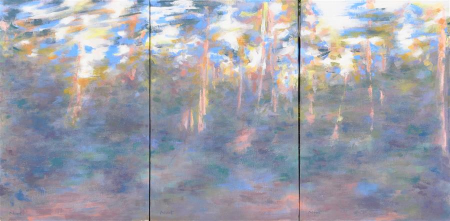 Original art for sale at UGallery.com | Chromatic Fugue by CLÉMENT NIVERT | $5,150 | Oil painting | 32' h x 60' w | http://www.ugallery.com/oil-painting-chromatic-fugue