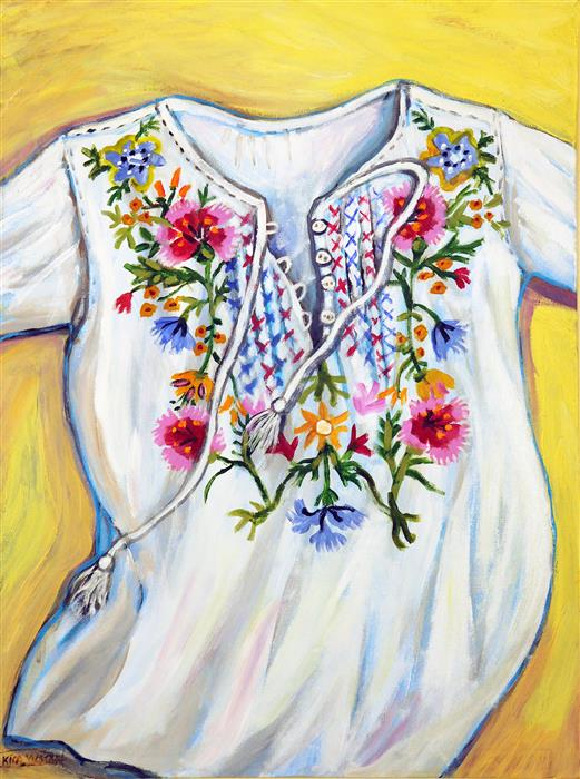 Original art for sale at UGallery.com | Embroidered Shirt by KIRA YUSTAK | $650 | Acrylic painting | 24' h x 18' w | http://www.ugallery.com/acrylic-painting-embroidered-shirt