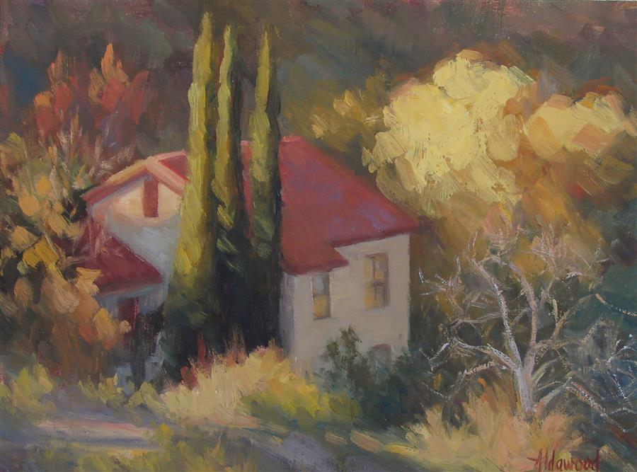 Original art for sale at UGallery.com | House on Mingus Mountain by SHERRI ALDAWOOD | $350 | Oil painting | 9' h x 12' w | http://www.ugallery.com/oil-painting-house-on-mingus-mountain