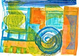Abstract art,Non-representational art,Modern  art,printmaking,Green Vase