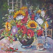 Still Life art,Flora art,Classical art,Representational art,acrylic painting,White Candle