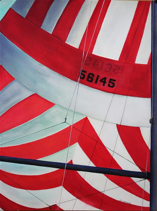 Original art for sale at UGallery.com | Red and White Spinnaker by JJ GALLOWAY | $575 | Watercolor painting | 24' h x 18' w | http://www.ugallery.com/watercolor-painting-red-and-white-spinnaker