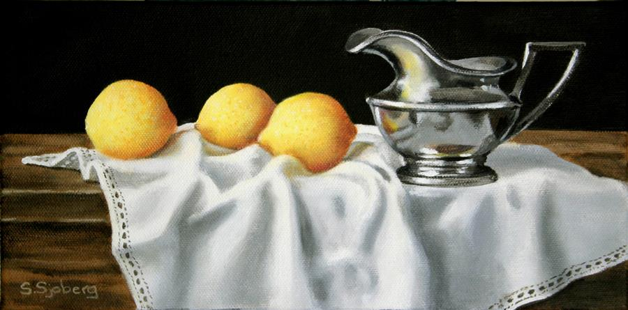 Original art for sale at UGallery.com | Lemons and Silver by SUSAN SJOBERG | $425 | Acrylic painting | 6' h x 12' w | http://www.ugallery.com/acrylic-painting-lemons-and-silver
