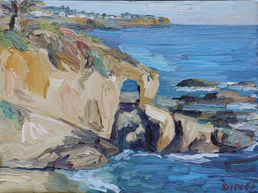 Discover Original Art by John Kilduff | Keyhole Rock, Laguna Beach oil painting | Art for Sale Online at UGallery