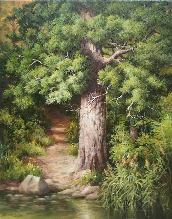 Discover Original Art by Nikolay Rizhankov | Path to the Lake oil painting | Art for Sale Online at UGallery