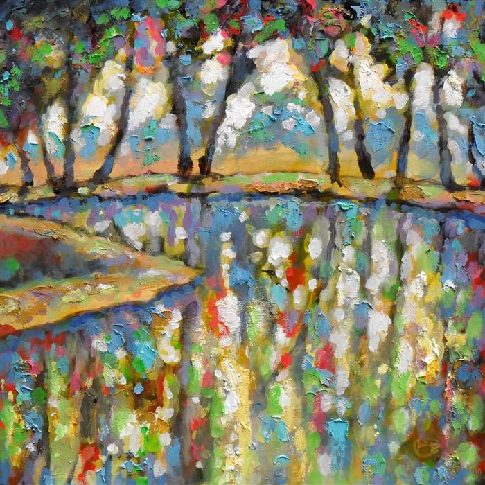 Original art for sale at UGallery.com | June Pond by KIP DECKER | $1,925 | Acrylic painting | 30' h x 30' w | http://www.ugallery.com/acrylic-painting-june-pond