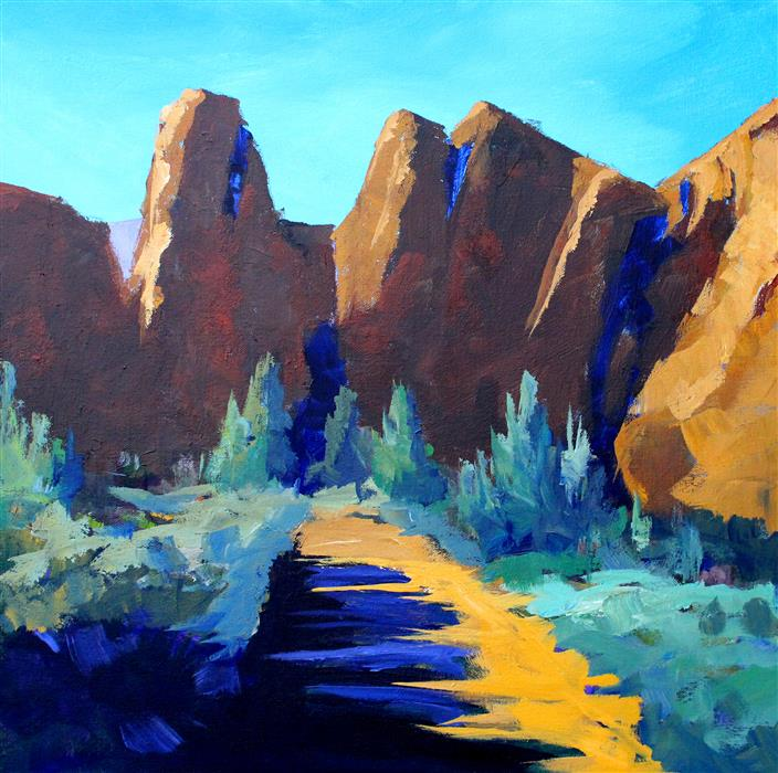 Original art for sale at UGallery.com | Smith Rock by NANCY MERKLE | $1,050 | Acrylic painting | 24' h x 24' w | http://www.ugallery.com/acrylic-painting-smith-rock