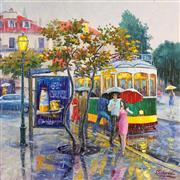 Impressionism art,People art,Travel art,Representational art,oil painting,Rainy Day. Lisbon Portugal.