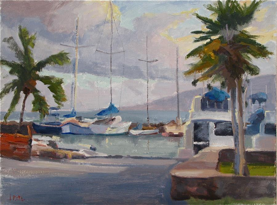 Discover Original Art by Jamie Roth | The Golden Hour at Lahaina Harbor oil painting | Art for Sale Online at UGallery